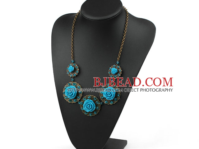 Vintage Style Blue Acrylic Flower Shape Necklace with Bronze Chain