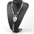 Assorted Multi Color Multi Stone Y Shape Necklace with Owl Shape Pendant