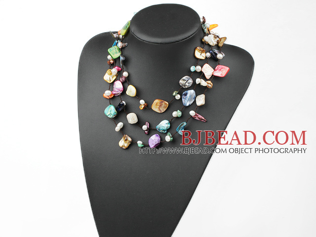 Long Style Multi Color Shell Necklace with Black Thread