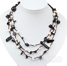 Long Style White Freshwater Pearl and Black Agate Necklace