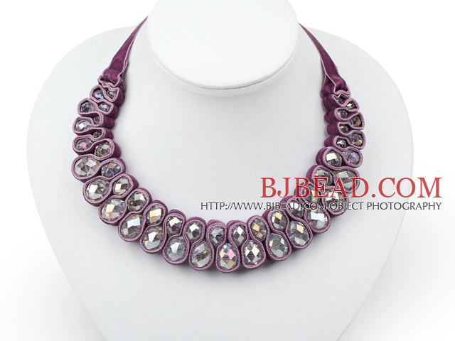 Fashion Style Clear Crystal Woven Bib Necklace with Dark Purple Velvet Ribbon