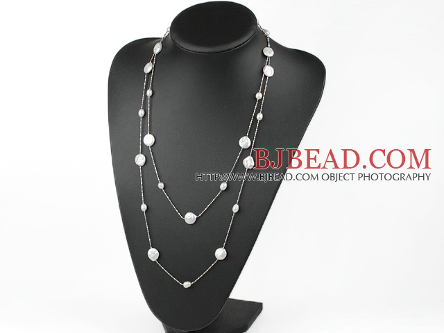 Classic Design Natural White Coin Pearl Long Necklace