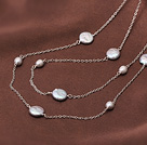 Classic Design Natural Gray Coin Pearl Long Necklace