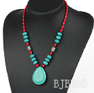 Assorted Red Coral and Turquoise Necklace with Drop Shape Turquoise Pendant