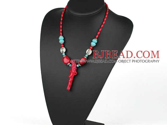 Elegant Style Assorted Red Coral and Turquoise Necklace with Branch Shape Red Coral Pendant
