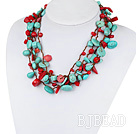 Multi Strands Assorted Red Coral and Turquoise Necklace with Brown Thread