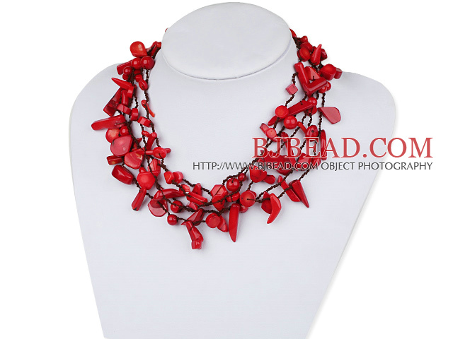 Assorted Multi Strands Red Coral Necklace