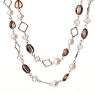 Beautiful Long Style Heart and Drum Shape Natural Smoky Quartz and White Pearl Beads Necklace under $ 40