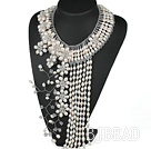 Elegant and Big Style White Freshwater Pearl Crystal Flower Party Tassel Necklace under $ 40