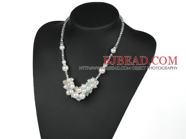 White Series Clear Crystal and Seashell Necklace