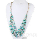 Green Series Multi Layer Turquoise and Kyanite and Light Blue Crystal Necklace with Metal Chain under $ 40
