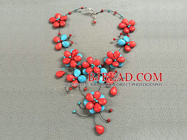 Beautiful Red & Blue Turquoise Flower Party Necklace