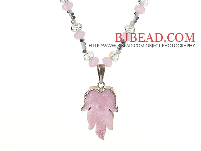 Light Pink Series Single Strand Clear and Pink Crystal Necklace with Leaf Shape Pink Crystallized Agate Pendant