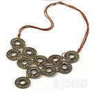 Vintage Style Bronze Necklace with Bronze Thread