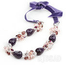 Purple Series Drop Shape Amethyst and Pink Pearl and Clear Crystal Necklace with Purple Cord under $ 40