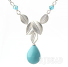 Classic Design Blue Turquoise Color Drop Shape Seashell Pendant Necklace with Metal Leaves and Metal Chain