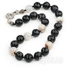 Single Strand Round Crystalloid Agate Beaded Knotted Necklace