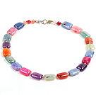 Beautiful Fashion Multi Color Rectangular Fire Agate Chunky Necklace