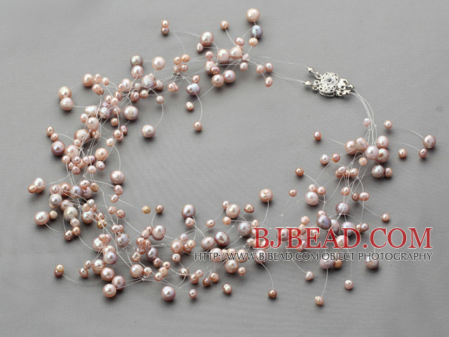 Fancy Style Multi Strands Natural Purple Freshwater Pearl Bridal Necklace
