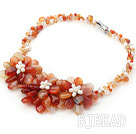 New Style Natural Color Agate and White Pearl Crystal Flower Necklace
