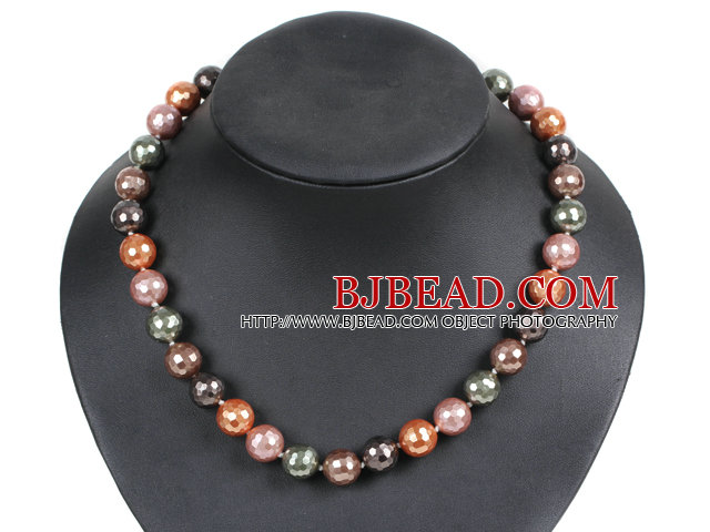 Simple Pretty Multi Color Faceted Round Seashell Beads Choker Necklace