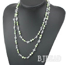 Long Style Light Green Freshwater Pearl and Clear Crystal Necklace ( No Clasp )
