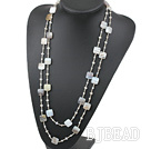 Long Style Square Shape Gray Agate and Gray Crystal Necklace ( No Clasp )