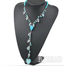 Fashion Style Dyed Sky Blue Pearl and Colored Glaze Y Shape Necklace under $ 40