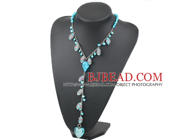Fashion Style Dyed Sky Blue Pearl and Colored Glaze Y Shape Necklace