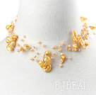 Fancy Style Multi Strands Yellow Teeth Shape Pearl Necklace with Toggle Clasp