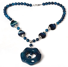 Blue Agate Necklace with Blue Agate Pendant