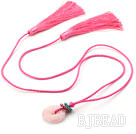 Pink Series Ethnic Style Rose Quartz Donut and Crystal Tassel Necklace