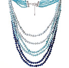 Blue Series Multi Strands Gradual Color Change Freshwater Pearl Beaded Necklace