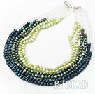 Green Series Multi Strands Gradual Color Change Freshwater Pearl Beaded Necklace