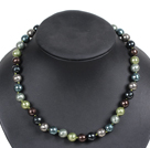 Simple Pretty Multi Color Faceted Round Seashell Beads Choker Necklace With Rhinestone Clasp under $ 12