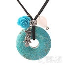 Simple Design Donut Shape Burst Pattern Turquoise and Rose Flower and Tibet Silver Owl Pendant Necklace with Black Cord under $ 40