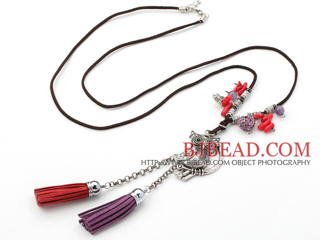 Assorted Red Coral and Owl Shape Accessory with Rhinestone Y Shape Necklace