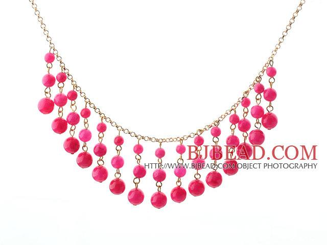 Diseño New Candy Pink Jade collar de la borla caliente con la cadena del  metal