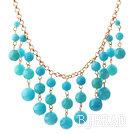 New Design Lake Blue Candy Jade Tassel Necklace with Metal Chain