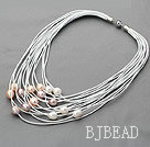 Multi Strands 11-12mm White Pink and Violet Freshwater Pearl White Leather Necklace with Magnetic Clasp