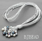 New Design Multi Strands 11-12mm Natural White Black Gray Freshwater Pearl Leather Necklace