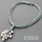 New Design Multi Strands 11-12mm Natural White Freshwater Pearl Leather Necklace with Magnetic Clasp