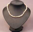 Single Strand White Coin Pearl Necklace with Carnelian Necklace with Magnetic Clasp