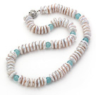 Single Strand White Coin Pearl Necklace and Blue Jade Necklace
