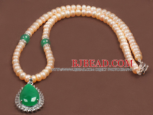 Fashion Nautral Pink Freshwater Pearl Waterdrop Shape Malaysian Jade Pendant Necklace