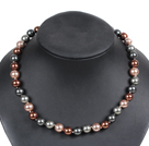 Simple Pretty Brown Series Round Seashell Beads Choker Necklace