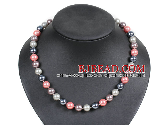 Simple Pretty Multi Color Round Seashell Beads Choker Necklace With Moonlight Clasp