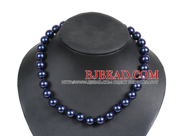 Simple Pretty Deep Blue Round Seashell Beads Choker Necklace With Rhinestone Clasp