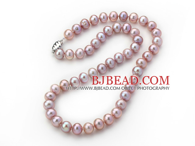 A Grade Nearly Round 8-9mm Natural Violet Freshwater Pearl Knotted Necklace with Magnetic Clasp