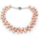 Classic Design Natural Pink Irregular Shape Top Drilled Pearl Crystal Necklace
